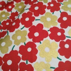 Tissu toile Canvas fleurs rouge et dorées trèfle Kokka (x10cm)