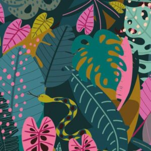 Tissu Dashwood night jungle Leaves Laize 110 (x10cm)
