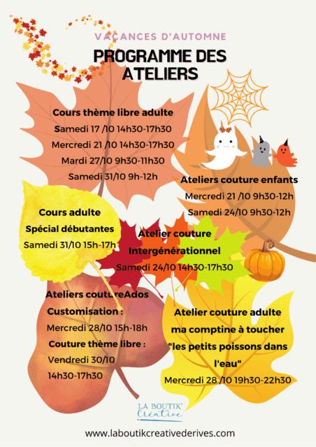 Programme des ateliers des vacances d'automne