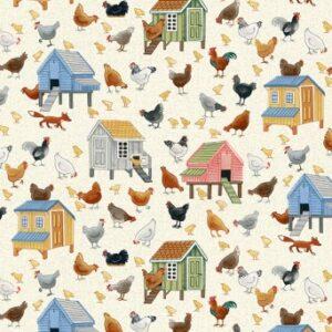 Tissu coton chickens (x10cm)