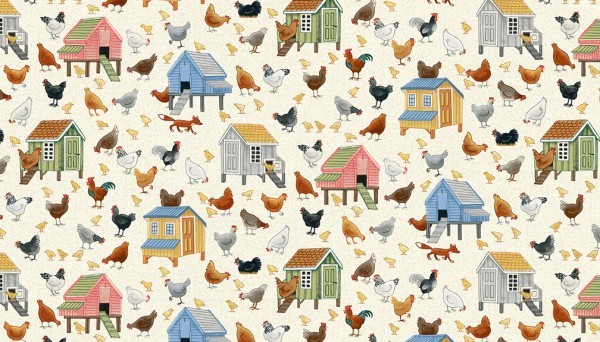 Tissu coton Chickens Makower village life collection
