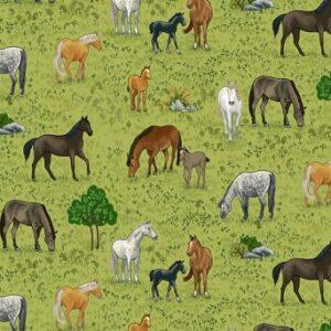 Tissu coton Horses (x10cm)