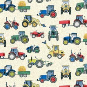 Tissu coton tractors (x10cm)