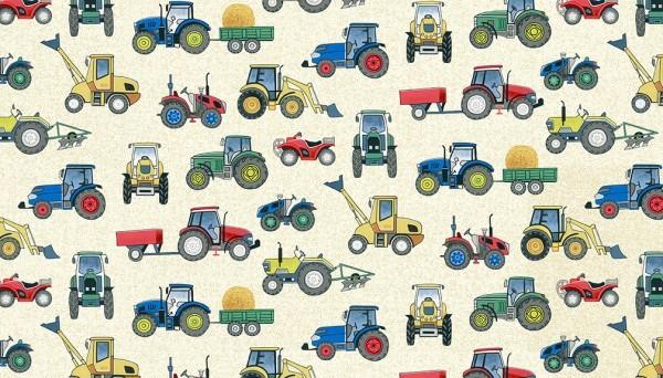 Tissu tractors Makower Village Life