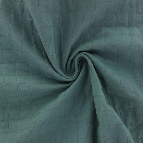 Tissu coton matelassé vert froissé