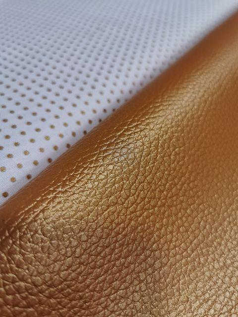 Coupon simili cuir Cuivré et tissu froufrou 2- La Boutik Créative de Rives