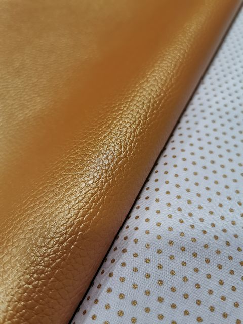 Coupon simili cuir Cuivré et tissu froufrou - La Boutik Créative de Rives
