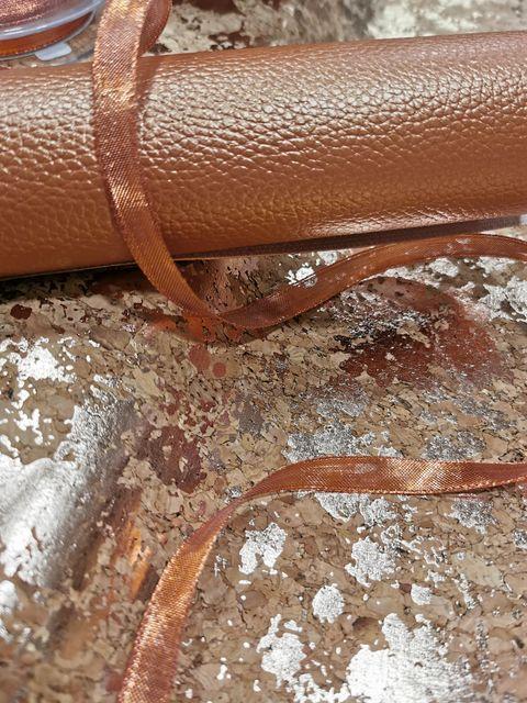 Coupon simili cuir Cuivré et tissu liège cuivré- La Boutik Créative de Rives