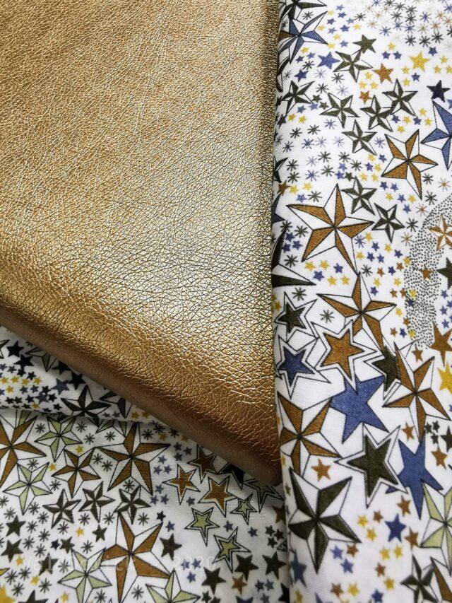 Coupon tissu simili Froufrou Cuivré et liberty étoiles