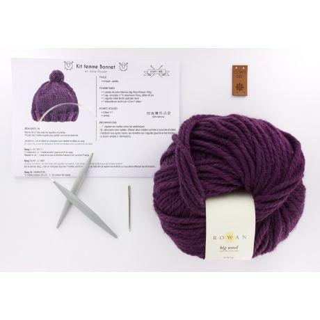 Kit tricot bonnet prune Com'1 idée