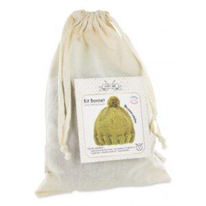 Kit tricot pour bonnet de laine col lichen doré