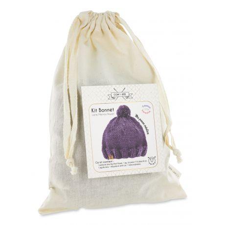 Kit tricot pour bonnet de laine prune