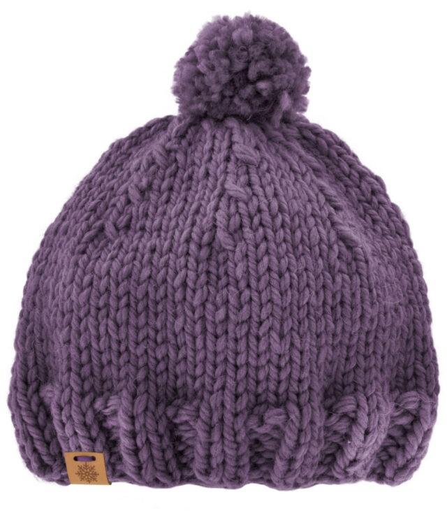 Kit tricot le bonnet de laine prune Com'1 idée