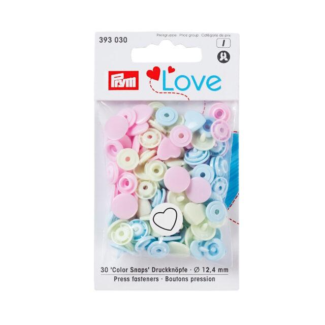 LOVE BOUTONS PRESSION PLAST ASS COEURS BLEU ROSE VERT 12MM b