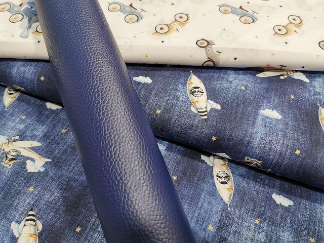coupons simili cuir Navy et tissus retro - la Boutik Créative de Rives