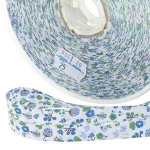 Biais fleurs de cerisier bleu vert gris