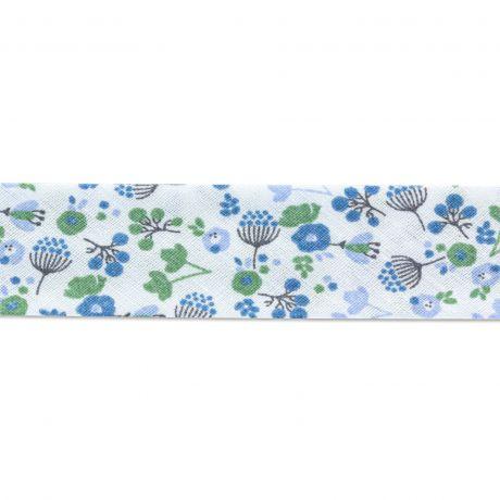 Biais polycoton 40 20 fleurs de cerisier bleu vert gris détail
