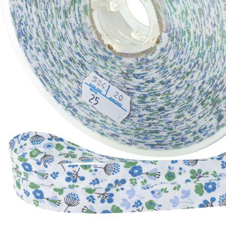 Biais polycoton 40 20 fleurs de cerisier bleu vert gris