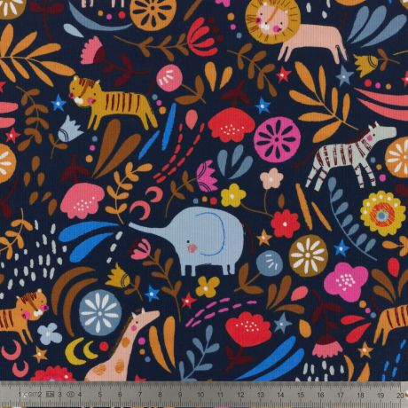 Tissu Dashwood velours Meadow Safari COL MARINE 2