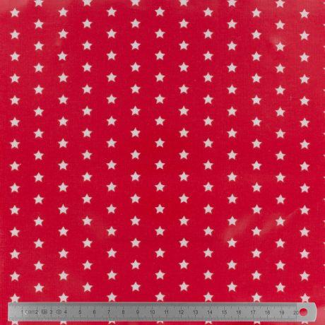 Tissu enduit Fryett's étoiles sur fond rouge
