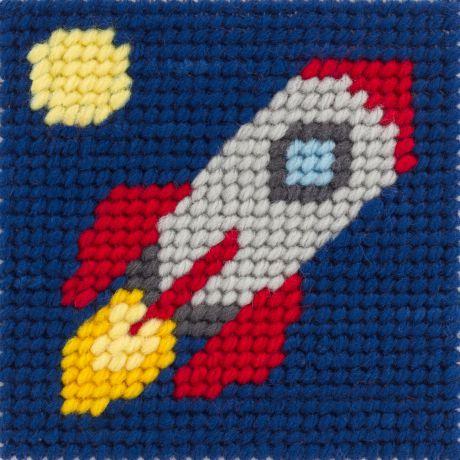 Kit canevas soudan20x20 La lune en fusée