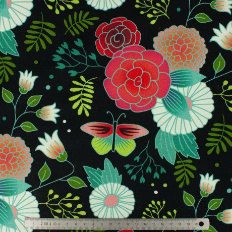 Tissu Albstoffe sweet home garden Fond noir 495 904S87D 1