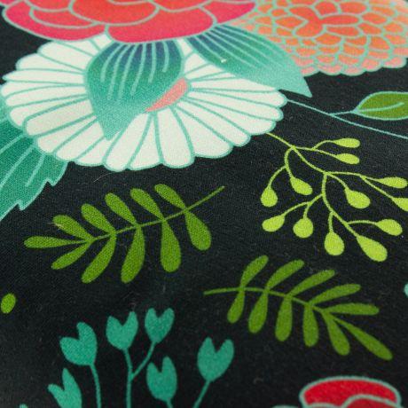 Tissu Albstoffe sweet home garden Fond noir détail
