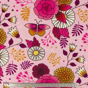 Tissu Albstoffe sweet home garden Col Rose et moutarde (10cm)