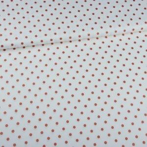 Tissu lin & viscose blanc à pois cuivré