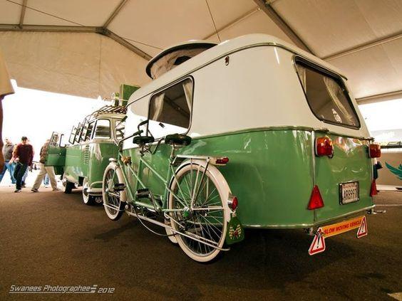 Caravane Eriba et WW vintage vert et crème
