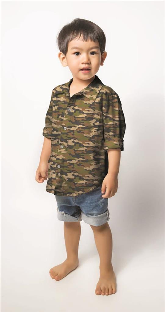 Chemise enfant camouflage tissu coton Poppy Fabric pour la Boutik Creative de rives