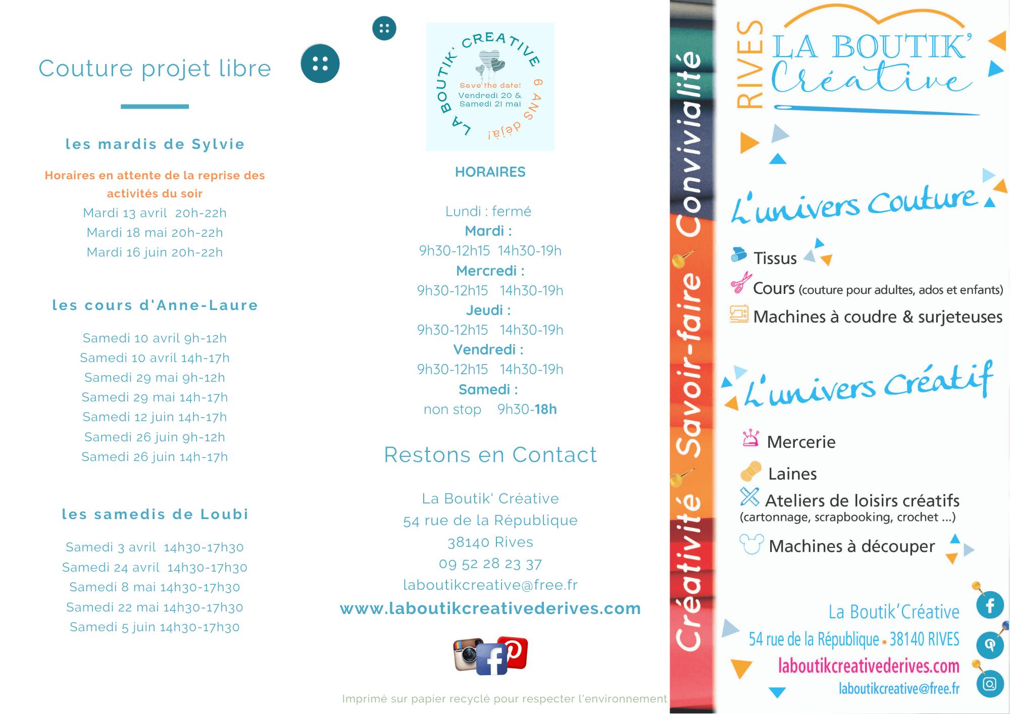 Flyer cours et atelier de La Boutik Créative avril 2021 R