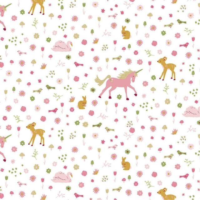 Tissu coton glitter sweet unicorns Poppy fond blanc