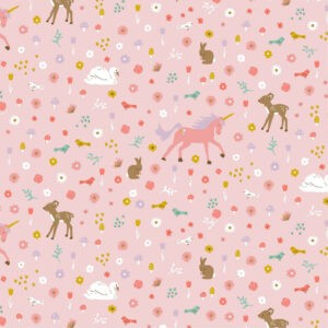 Tissu coton glitter sweet unicorns Poppy fond rose