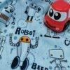 Tissu jersey french terry Robot Poppy Fabric à la Boutik Créative de Rives