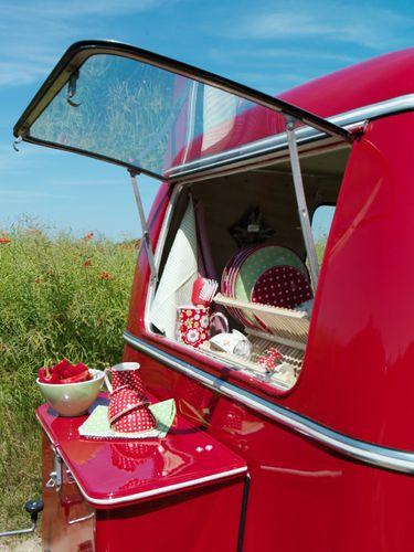 Red vintage caravan