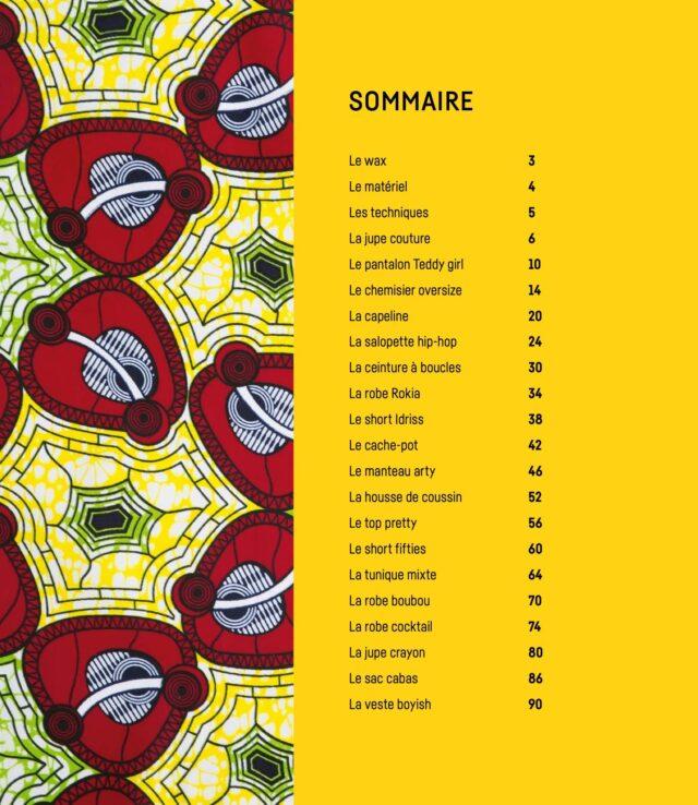 Coudre le Wax Sommaire livre couture à La Boutik Creative de Rives