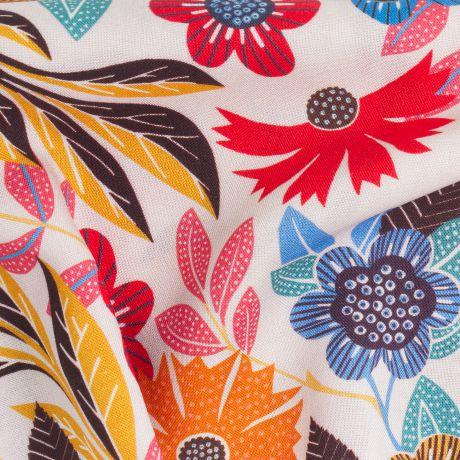 Tissu Viscose Dashwood studio Gardenia Orange et bleu sur fond blanc à La Boutik Créative de Rives Détails