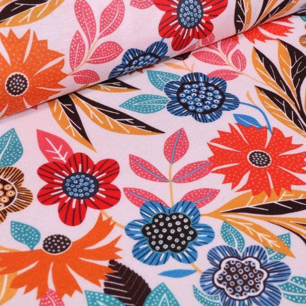 Tissu Viscose Dashwood studio Gardenia Orange et bleu sur fond blanc à La Boutik Créative de Rives