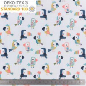 Tissu PUL imperméable imprimé toucans (x10cm)