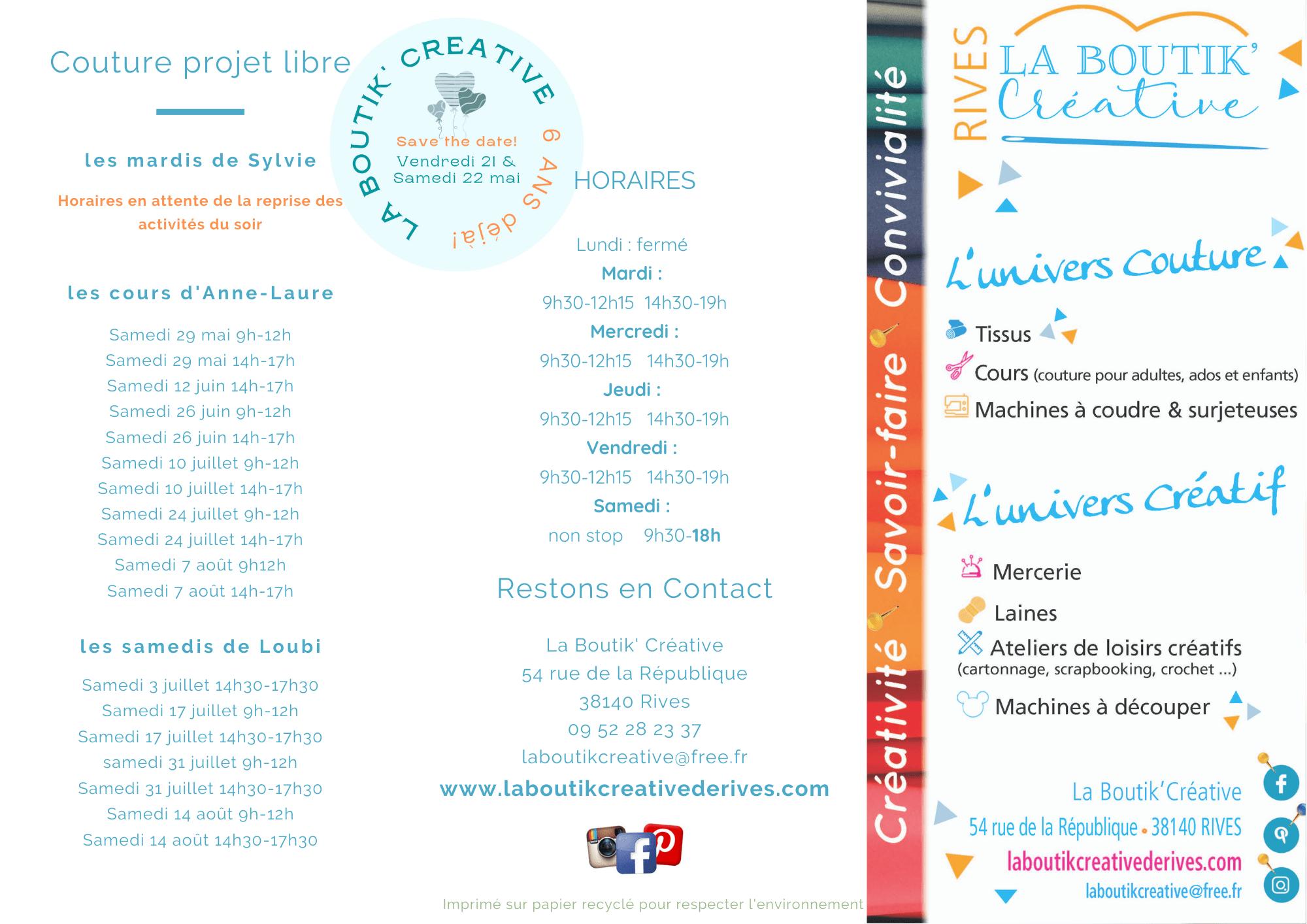 Flyer cours et atelier de La Boutik Créative mai 2021 V