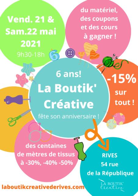 La Boutik' Creative de Rive fête son 6ème anniversaire les 21 et 22 mai 2021
