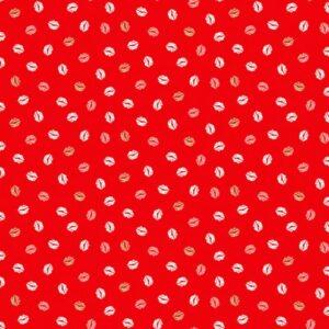 Tissu coton «Lips» sur fond rouge (x10cm)