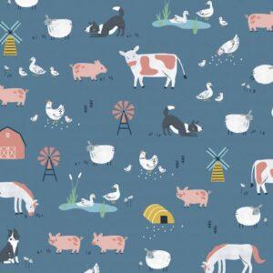 Tissu coton les animaux de la ferme (x10cm)