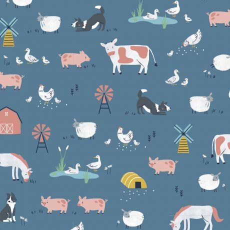 Tissu coton Farm Days bleu Dashwood studio à la Boutik Créative de Rives