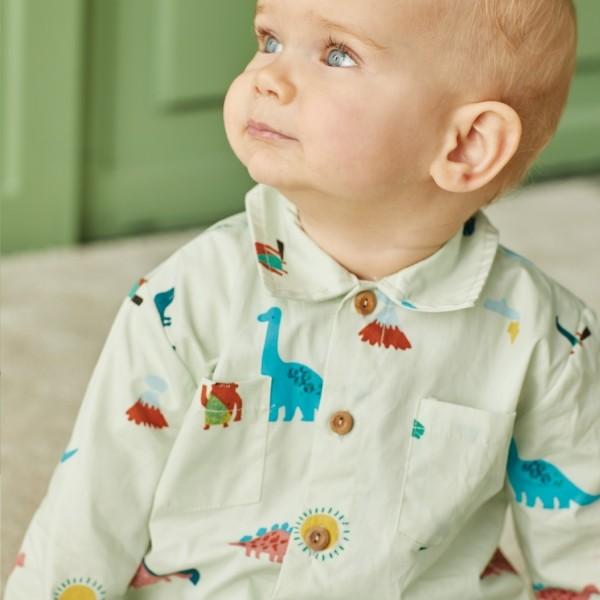 Tissu coton Les Dinos - chemise BB - La Boutik Créative de Rives