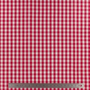 Tissu vichy popeline coton rouge (x10cm)
