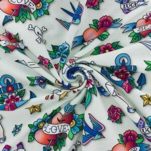 Tissu Sweat French Terry Ahoy good luck Blanc(x10cm)