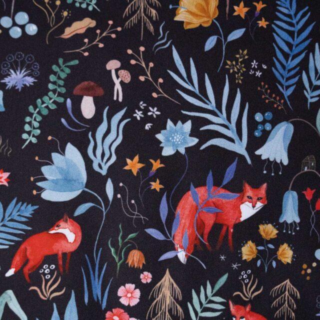 Popeline de coton DARK FOREST-La Boutik Creative de Rives