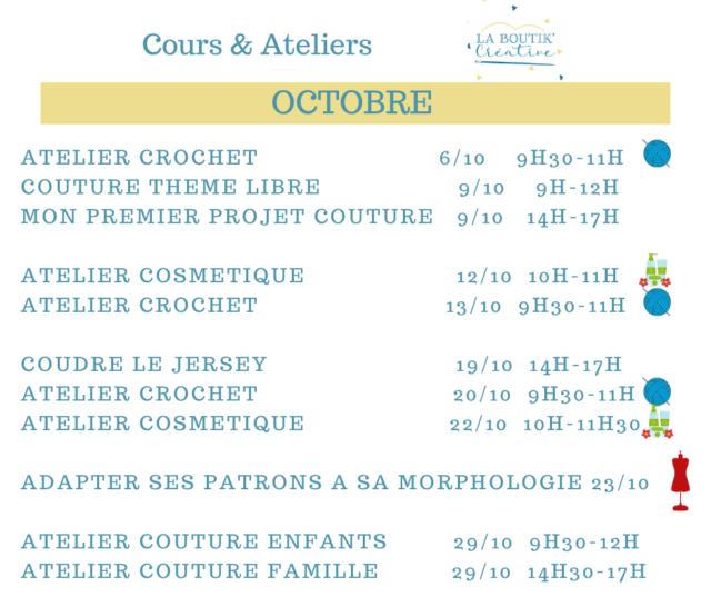 Cours et ateliers du mois d'octobre à la Boutik Créative de Rives